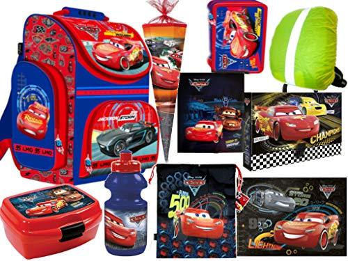 10 TLG. Set Cars Disney McQueen Auto Schulrucksack, Ranzen, gefüllte Federmappe, Sportbeutel, Brotdose, Trinkflasche, Gummizugmappe, DIN A4 Mappe, Schultüte, Schreibtischunterlage, Sicherheitshülle