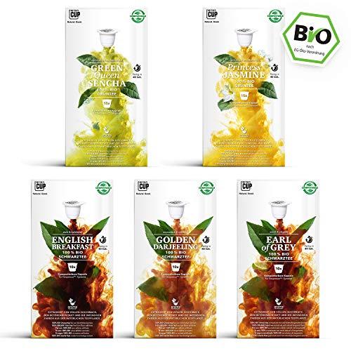 Klassiker Box - 5 x 10 BIO Teekapseln von My-TeaCup | Kompatibel mit Nespresso®*-Maschinen | 100% kompostierbare Kapseln ohne Alu | 50 Kapseln 5 Sorten (Grey Earl Green K-cups Tea)