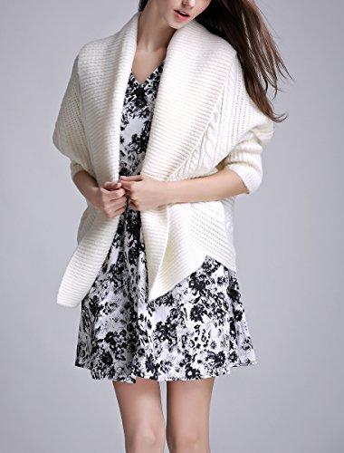 ELLAZHU Femme À La Mode Grand Col Roulé Couleur Pure Pull Court Cardigan YY37 YY37 Blanc