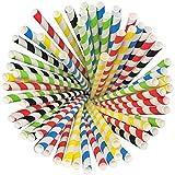 Blissmora pailles papier 250pcs avec emballage recyclé biodégradable Bulk pailles Décoration pour fête d'anniversaire de mariage Baby Shower Valentine en plein Rainbow Lollipop Multicolore Multi-Color