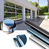 KINLO 300 x 75cm Spiegelfolie Sonnenschutzfolie Ohne Kleber für Fenster Sichtschutzfolie aus PVC 99% UV-Schutz Privatsphäre Glas Fensteraufkleber Fensterfolie (Blau silber)