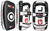 Pair of Leather Thai Pads Boxing gloves MMA training arm pad Punch blk/white
