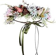 Folora Justerbart pannband med blommor hårkrans blommig girlang krona huvudbonad med band för bröllopsceremoni