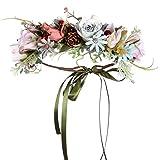 Folora Verstellbarer Blumen-Haarband Haarkranz Blumengirlande Kopfschmuck mit Band für Hochzeit Zeremonie Party Festival (V)