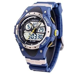 Time100 Taucheruhr Multifunktion-Sportuhr Analog-Digital Blau 100M Wasserdicht W40013M.03A