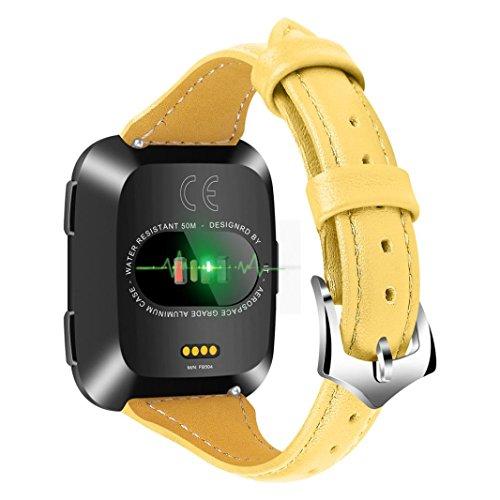 BZLine Heißer Verkauf Leder Uhrenarmband Luxury Leather Bands Ersatz Armband Zubehör Straps für Fitbit Versa (Gelb)