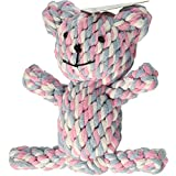Foodie Puppies Durable Cotton Knot Puppy Chew Plush Rope Dental Chewing Molar Fun Teddy Bear Toy (Color May Vary, FP Teddy Bear Rope Toy)