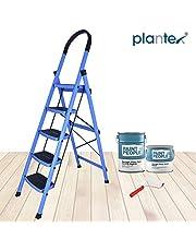Plantex Prime Steel Folding 5 Step Ladder for Home - 5 Wide Anti Skid Steps (Blue & Black)