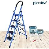 Plantex Prime Steel Folding 5 Step Ladder for Home - Wide Anti Skid Steps (Blue & Black)