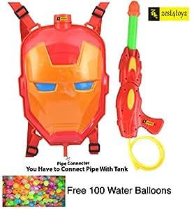 Zest 4 Toyz Holi Water Gun with High Pressure Holi Pichkari with Back Holding Tank, Holi -Ironman Face