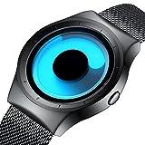 Herren Mode Casual Designer Uhren Herren Edelstahl Schwarz Mesh Armband Wasserdicht Einfache Analog Quarz Armbanduhr mit Blau Zifferblat