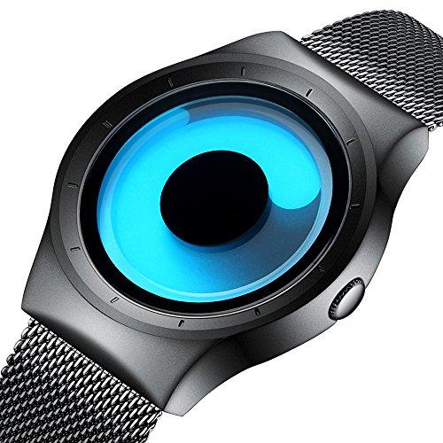 Herren Mode Casual Designer Uhren Herren Edelstahl Schwarz Mesh Armband Wasserdicht Einfache Analog Quarz Armbanduhr mit Blaues Zifferblat