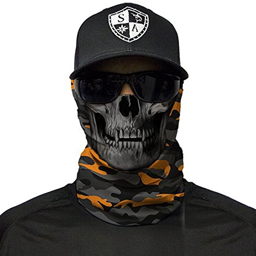 ace Shield Sturmhaube Bandana Gesichtsmaske Halstuch Ski Motorrad Paintball Halloween Maske (Orange & Grey Military Camo Skull) ()