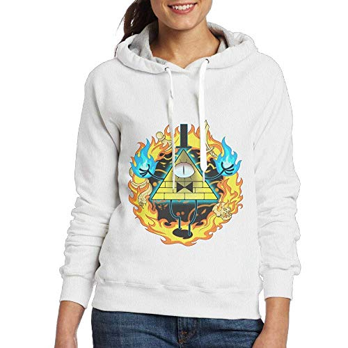 Gravity Falls Bill Cipher Women Pullover Hooded Hoodie Sweatshirt White Small