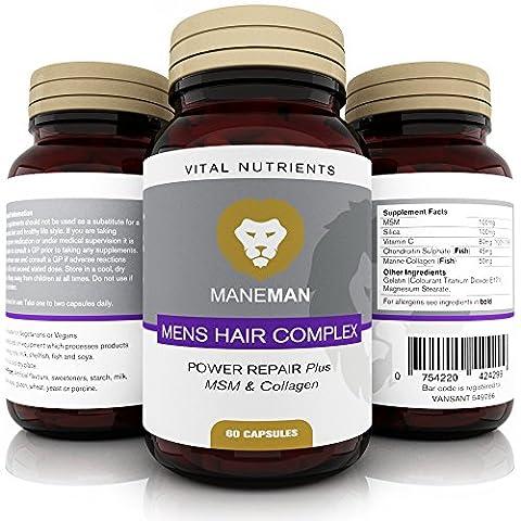 Hommes Augmentation de cheveux Suppléments - 60 Capsules Ingrédients essentiels avec MSM & Collagène Nutrients - Meilleur Mens produit pour promouvoir la repousse des Strands pour la santé, plus fort et plus épais cheveux et lutter contre la perte de cheveux | 30 Jour ultime réparation Vital