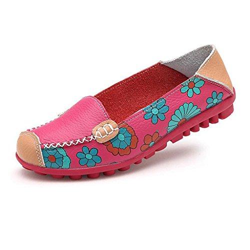 Oriskey Mocassins Femme Cuir Loafers Casual Bateau Chaussures de Ville Flats Rose rouge