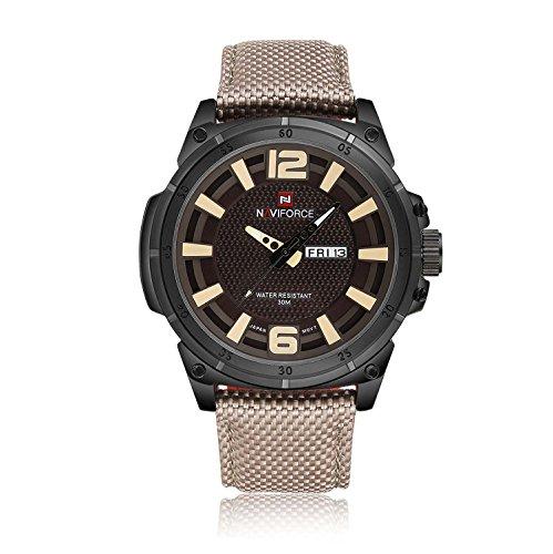 GuTe in nylon cinturino analogico quadrante automatico data ad alto impatto da uomo moda quarzo orologio da polso nero giallo
