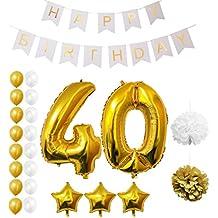 Globos Cumpleaños Happy Birthday, Suministros y Decoración por Belle Vous - Globo Grande de Aluminio - Decoración Globos De Látex Dorado y Blanco - Apto para Todos los Adolescentes (Edad 40)