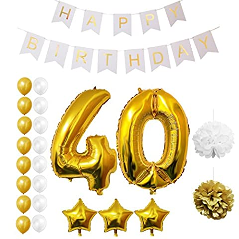 40th Happy Birthday Party Balloons, Supplies & Decorations by Belle Vous - All-in-One Set - Large 40 Years Foil Balloon - Gold and White Latex Balloon Decoration - Decor Suitable for All