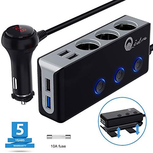 QC 3.0 Auto Ladegerät 3-Fach, 12V/24V Zigarettenanzünder Verteiler USB Kfz Adapter 120W DC Mehrfach Steckdose Splitter mit Voltmeter Schalter 4 USB Anschlüsse für GPS Dash Cam iPhone iPad Android