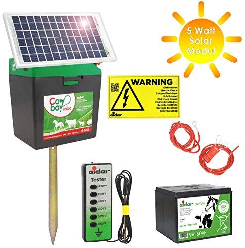 *Weidezaungerät Cowboy B 5000 + Batterie + 5 Watt Solar Modul + Zaunprüfer – Das rundum sorglos Paket*