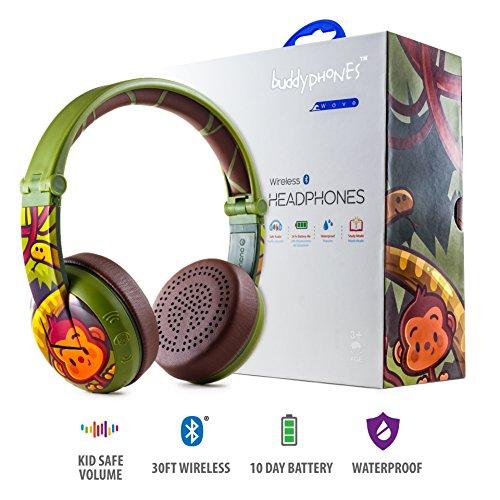 Cuffie bluetooth wireless per bambini - buddyphones wave | sicure, con limitazione del volume a 75, 85 o 94 db | pieghevoli e impermeabili | durata della batteria 24ore | cavo opzionale per condividere l'audio | verdi
