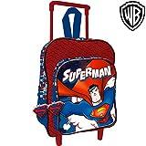 Bakaji Zaino Trolley Superman Warner Bros Originale Asilo Scuola Bambini Viaggi Altezza 30 cm