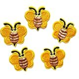 Demarkt Biene Aufnäher Bügelbild Patch Kleider Patches Gestickt Applique Biene DIY Handwerk Gelb 3,7 x 3,7cm