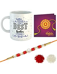 YouBella Rakhi, Mug and Greeting Card Combo for Brother (Multi-Colour) (YBRK_100)