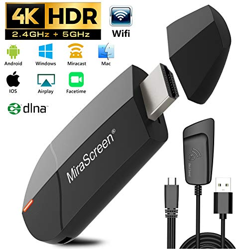 Wireless WiFi Display 4K HD 2.4G+5G Adapter HDMI, Gifort Drahtlos Mini Anzeigeempfänger teilen 4K HD Videos Audio/ Bild/ Live Kamera / Musik vom PC/ Telefon auf TV Monitor Projektor Wireless Display Adapter