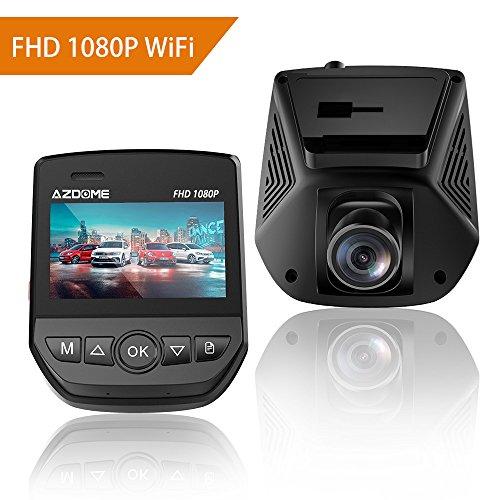 Azdome telecamera per auto full hd 1080p con wifi e g-sensor, dash cam con angolo di visuale di 170