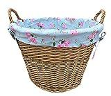 Red Hamper Lavar la cesta de la antigüedad de registro con una alimentación rose cottage