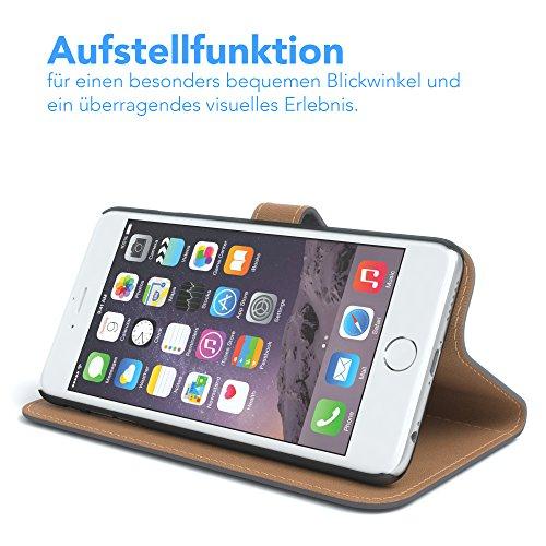 Apple iPhone 6S / 6 Tasche, EAZY CASE Book-Style Case Vintage, Premium Handyhülle mit Kartenfach, Schutzhülle Geldbeutel mit Standfunktion, Wallet Case in Schwarz Anthrazit - Uni