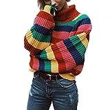 SuperCimi Damen Langarm gestreiften Regenbogen gestreiften Top Rollkragenpullover Strickpullover Jumper Shirt