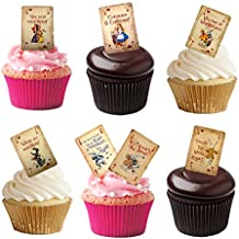 16 Stand Up Vintage Alice In Wonderland Playing Cards Edible Wafer Paper Cake Toppers Decorations