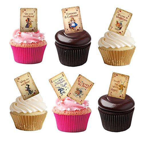 en, Motiv: Spielkarten aus Alice im Wunderland, aus hochwertigem, essbarem Waffelpapier ()