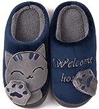 ChaxChay Zapatillas de Estar por Casa Lindo Animados para Niños Mujer Hombre Invierno Pelusa Forro Pantuflas Interior de Memoria Espuma Cómodo Caliente Zapatos de Algodón, Azul, 35/36 EU