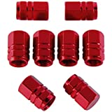 8 Piezas de Tapas de Válvulas de Neumático de Coche Tapones de Válvulas de Rueda Tapa de Neumático a Prueba de Polvo, Forma de Hexágono (Rojo)