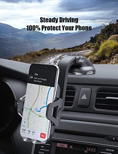 Kaome 2 in 1 Handyhalter fürs Auto Windschutzscheibe Lüftung Handyhalterung Universal KFZ Handy Halterung 360° Drehbar Kugelgelenk mit Gel-Auflage&Teleskoparm Autohalterung Handy mit Kratzschutz