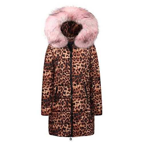 TianWlio Jacken Damen Winter Lange Daunenjacke mit Kapuze Outwear Baumwolle Leopard Drucken Parka Mäntel Herbst Winter Warme Jacken Strickjacken Rosa L