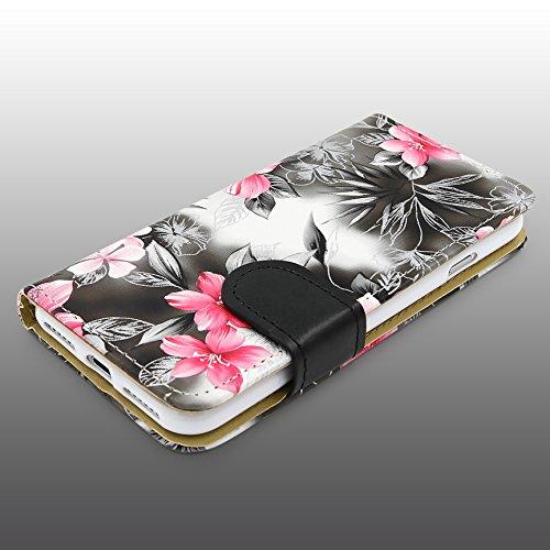 Urcover® Apple iPhone 7 / 8 Blumenmuster Schutz-Hülle mit [ Kartenfächer & Easy Stand-Funktion ] Kunststoff in Weiß | Rundum-Schutz Case | Cover | Lady Wallet | Etui Schale | Kompllet-Tasche Schwarz
