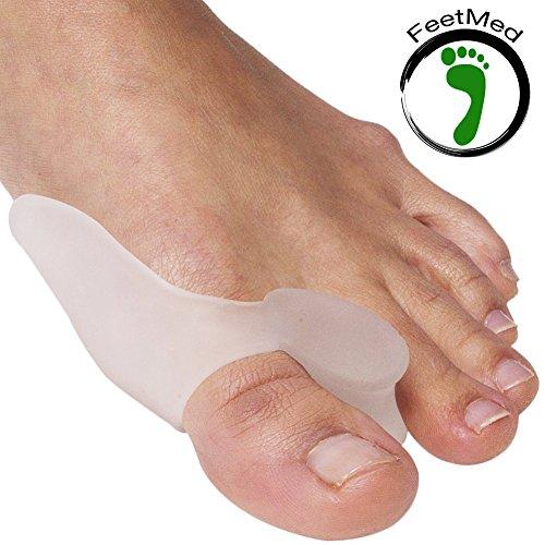 Separatore alluce valgo 100% silicone medico - divisore dita dei piedi in gel - tutore correttivo per dito a martello - divaricatore antisfregamento per uomo e donna - 2 pezzi in morbido silicone, separadita anatomico in gel ottimo sia di giorno che di notte