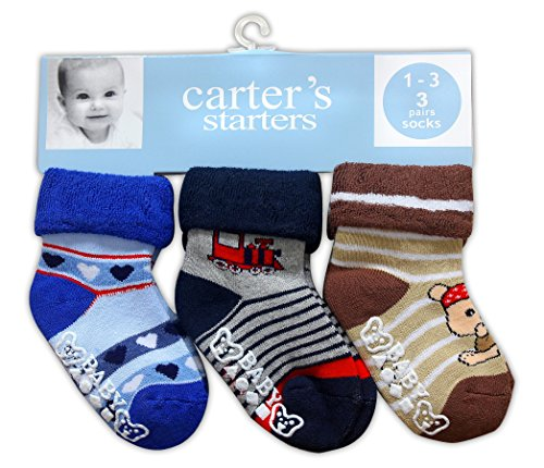 carter's Baby Boy's and Girl's Cotton Anti Skid Socks (Multicolour, 12-18 Months) -3 Pairs