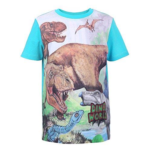 DINO WORLD Dinosaurio Niños Camiseta, T-Shirt, Turquesa, Talla 116, 6 Años