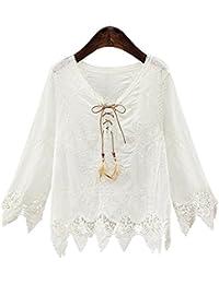 primavera y otoño V-cuello de manga larga salvaje de la mujer nueva de tocar fondo blusa de encaje irregular era delgada mujer camiseta