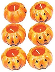 Halloween 6 Orange Pumpkin Candles Tea Lights Spooky Party Decoration Accessory