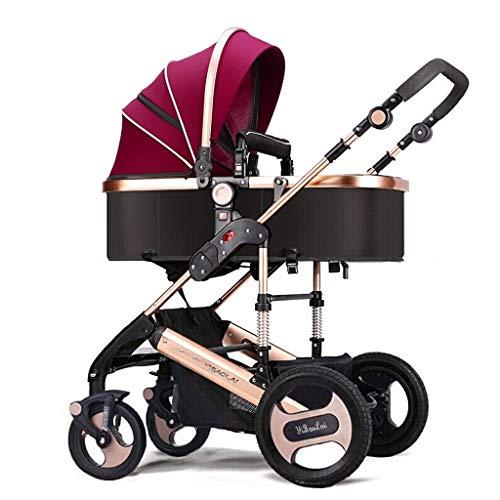 Mode Vier Jahreszeiten Kinderwagen Falten Hohe Landschaft Kleinkinder Baby Kinderwagen Bidirektionale Neugeborenen Kinderwagen Geeignet Für Kinder 0-3 Jahre Alt (Farbe : Purple)