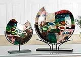 Gilde Glas Artdeco Vase Patchwork grün / blau / gold / rot schwarzer Metall halter L = 11 x B = 47 x H = 49 cm