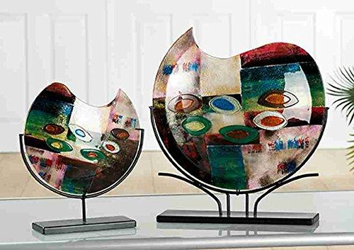 GILDE Glas Artdeco Vase Patchwork grün/blau / Gold/rot schwarzer Metall Halter L = 9,5 x B = 32 x H = 37 cm -