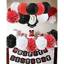 Mickey Mouse Decoraciones para fiestas de cumpleaños Blanco Rojo Decoraciones para fiestas de cumpleaños Minnie Mouse